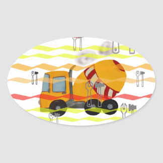Yellow and red concrete mixer oval sticker