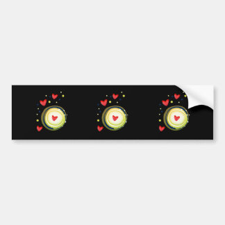 yellow and red, cute love heart bumper stickers