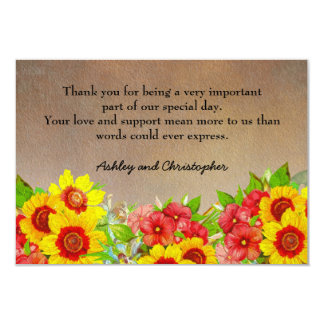 Yellow and Red Floral on Brown Wedding Thank You Card