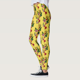 Yellow And Red Flower Sprigs Floral Leggings
