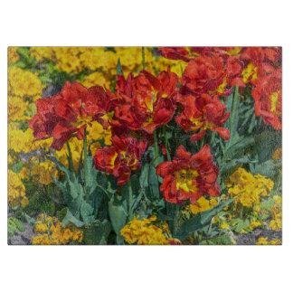 Yellow and red flowers glass cutting board