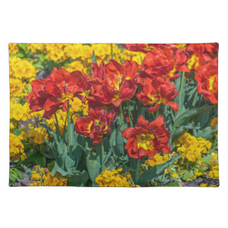 Yellow and red flowers placemat