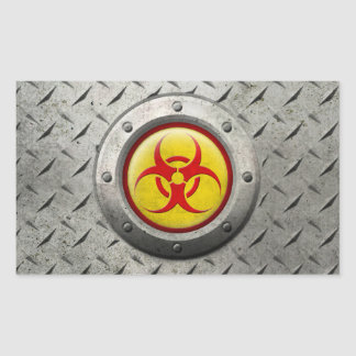 Yellow and Red Industrial Biohazard Steel Effect Rectangular Sticker