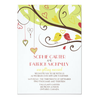 Yellow and Red Lovebirds Wedding Invitation