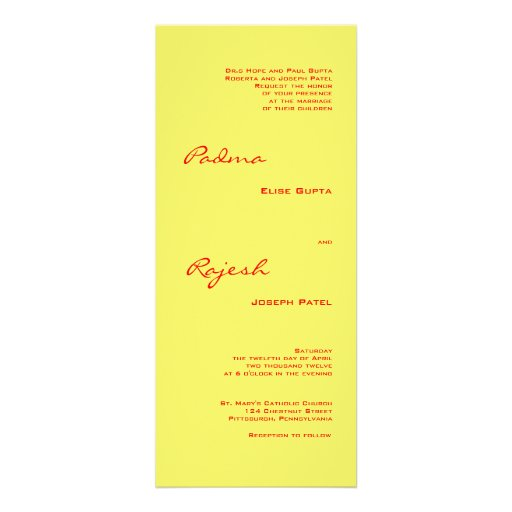 Yellow and Red Paisley Indian Wedding Personalized Invitation