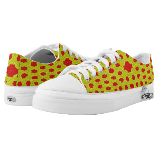 Yellow and red pattern low tops
