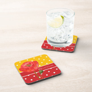 Yellow and Red Polka Dots with Poppies Coaster