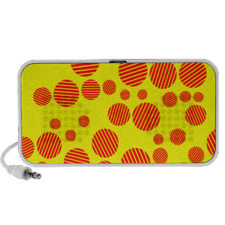 Yellow and Red Random Polkadot Pattern Notebook Speakers