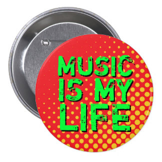 Yellow and Red Retro Halftone I Love Music Button