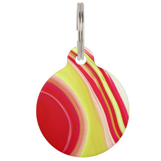 Yellow and red roses abstract pet ID tag