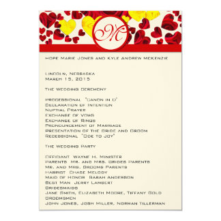 Yellow and Red Roses Wedding Program