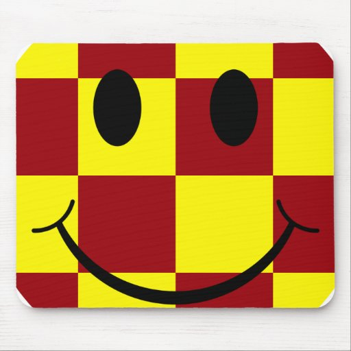 Yellow and Red Smiley Face Mousepad