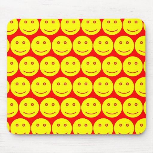Yellow And Red Smiley Faces Mouse Pad