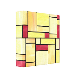 Yellow and Red Stained Glass (12x12) Canvas Canvas Print
