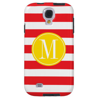Yellow and Red Stripes Custom Monogram Galaxy S4 Case