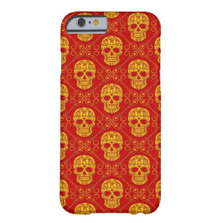 Yellow and Red Sugar Skull Pattern Barely There iPhone 6 Case