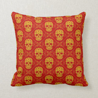 Yellow and Red Sugar Skull Pattern Cushion