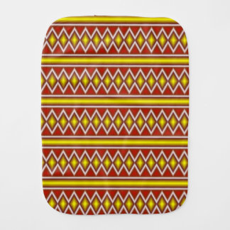 Yellow and red tribal pattern burp cloth