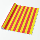 Yellow and Red Vertical Stripes Wrapping Paper