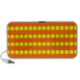 Yellow and Safety Orange Polkadotted Pattern Travelling Speakers
