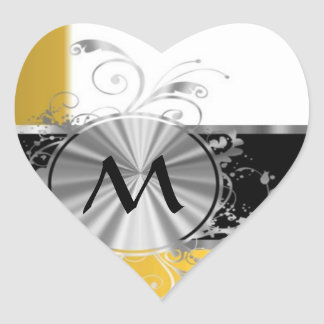 Yellow and silver monogram heart sticker