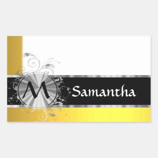 Yellow and silver monogram rectangular sticker