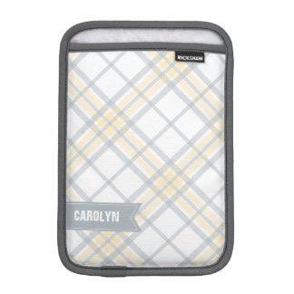 Yellow and Silver Plaid Monogram iPad Mini Sleeve