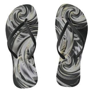 Yellow and Soft Smokey Gray Black Flip Flops
