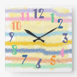 Yellow and Striped Pastels Square Wall Clock