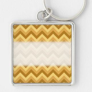 Yellow and Tan Zigzag Stripes. Key Ring