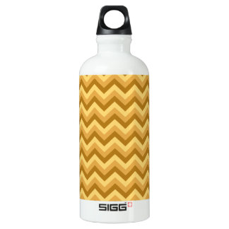 Yellow and Tan Zigzag Stripes. Water Bottle