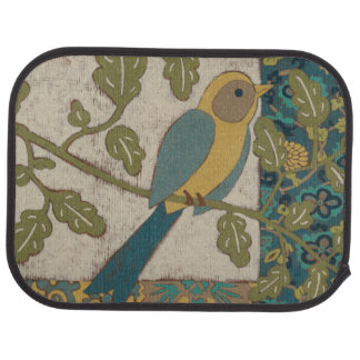 Yellow and Teal Blue Bird Perched on a  Branch Car Mat