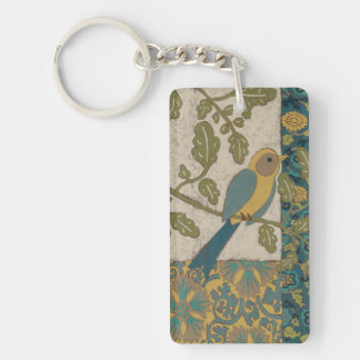 Yellow and Teal Blue Bird Perched on a  Branch Key Ring