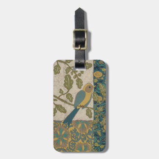 Yellow and Teal Blue Bird Perched on a  Branch Luggage Tag