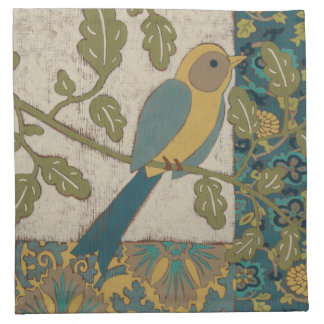 Yellow and Teal Blue Bird Perched on a  Branch Napkin