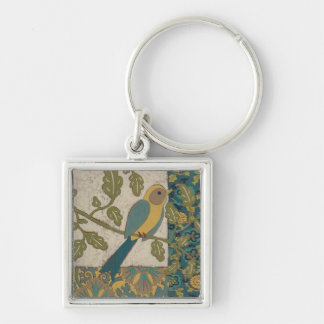 Yellow and Teal Blue Bird Perched on a  Branch Silver-Colored Square Key Ring