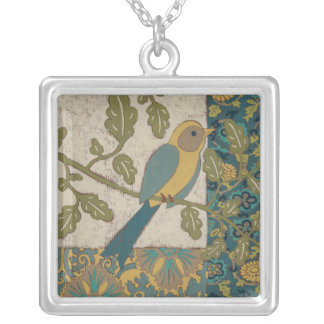 Yellow and Teal Blue Bird Perched on a  Branch Silver Plated Necklace