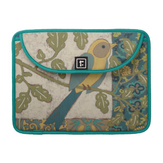 Yellow and Teal Blue Bird Perched on a  Branch Sleeve For MacBooks