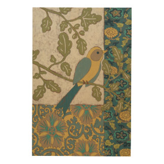 Yellow and Teal Blue Bird Perched on a  Branch Wood Print