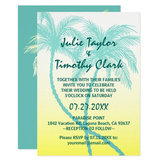 Yellow and Teal Blue Palm Tree Wedding Invitations