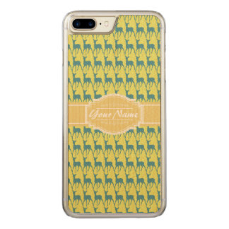 Yellow and Teal Deer Name Carved iPhone 7 Plus Case