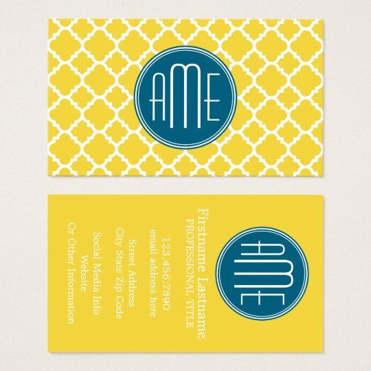 Yellow and Teal Quatrefoil Pattern Custom Monogram Business Card