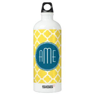 Yellow and Teal Quatrefoil Pattern Custom monogram SIGG Traveller 1.0L Water Bottle