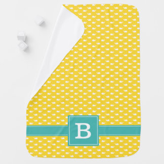 Yellow and Teal Whimsical Whales Pattern Monogram Baby Blanket
