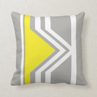 Yellow and Triangular Gray Shape Throw Pillow