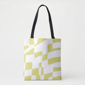Yellow and White Abstract Minimalist Squares Tote Bag