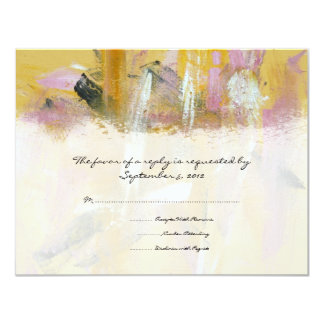 Yellow and White Artistic Wedding RSVP 11 Cm X 14 Cm Invitation Card