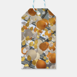 Yellow and white balloon happy birthday gift tag