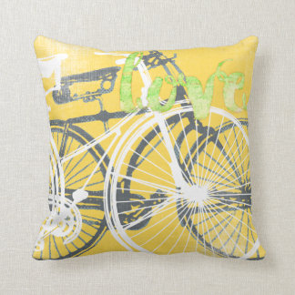 Yellow and White Bicycle Love Pillow Throw Cushions