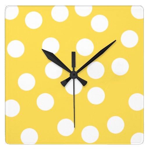 Yellow and White Big Dot Pattern. Wall Clock